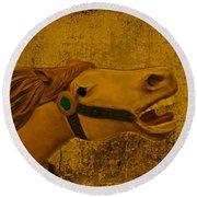 Antique Carousel Appaloosa Horse Round Beach Towel