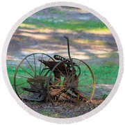 Antique Farm Equipment Round Beach Towel