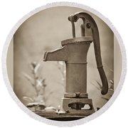 Antique Hand Water Pump Round Beach Towel
