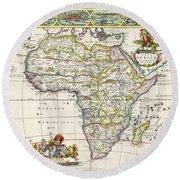 Antique Map Of Africa Round Beach Towel by Dutch School