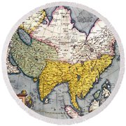 Antique Map Of Asia Round Beach Towel