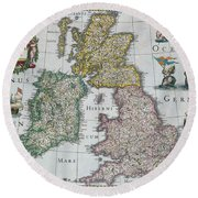 Antique Map Of Britain Round Beach Towel