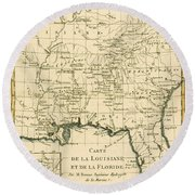 Antique Map Of Louisiana And Florida Round Beach Towel by Guillaume Raynal