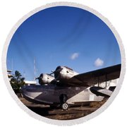 Antique Navy Seaplane Parked In Front Round Beach Towel by Michael Wood