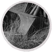 Antique Tractor Bucket In Black And White Round Beach Towel by Jennifer Ancker