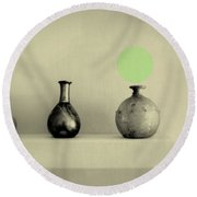 Antique Vases Still Life Altered I Round Beach Towel