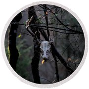 Antlers - Skull - In The Air Round Beach Towel