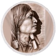 Apache Chief Round Beach Towel