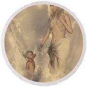 Aphrodite And Eros Round Beach Towel by Lourry Legarde