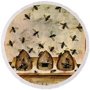 Apiculture-beekeeping-14th Century Round Beach Towel by Science Source