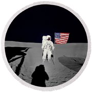 Apollo 14 Astronaut Stands Round Beach Towel