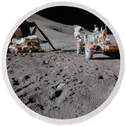 Apollo 15 Astronaut Works At The Lunar Round Beach Towel