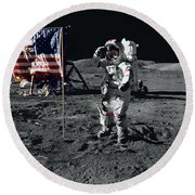 Apollo 17 Astronaut Salutes The United Round Beach Towel