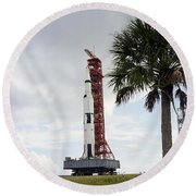Apollo 4 And Its Mobile Launch Tower Round Beach Towel