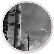 Apollo 8: Launch, 1968 Round Beach Towel