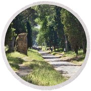 Appian Way In Rome Round Beach Towel