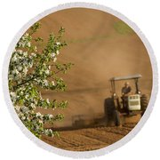 Apple Blossoms And Farmer On Tractor Round Beach Towel