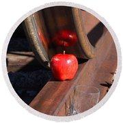 Apple Juice Railroad 4 Round Beach Towel