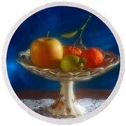 Apple Lemon And Mandarins. Valencia. Spain Round Beach Towel