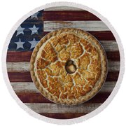 Apple Pie On Folk Art  American Flag Round Beach Towel