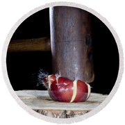 Apple Smashed With Mallet Round Beach Towel