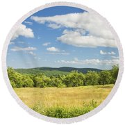 Apple Trees And Hay Field In Summer Maine Round Beach Towel