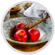 Apples In A Silver Bowl Round Beach Towel by Susan Savad