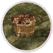 Apples In Basket Round Beach Towel