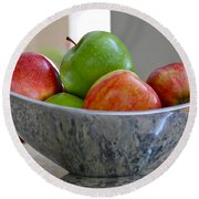 Apples In Fruit Bowl Round Beach Towel