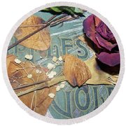 Vintage Apples Of Gold Round Beach Towel