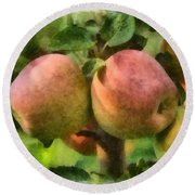 Apples Painterly Round Beach Towel