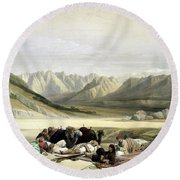 Approach To Mount Sinai Wady Barah Feby 17th 1839 Round Beach Towel