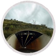 Approaching A Tunnel On A Highway In England Round Beach Towel