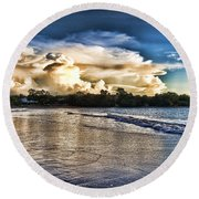 Approaching Storm Clouds Round Beach Towel