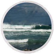 Approaching Storm In Maui Round Beach Towel