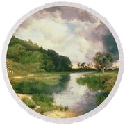 Approaching Storm Round Beach Towel by Thomas Moran
