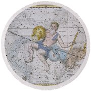 Aquarius And Capricorn Round Beach Towel by A Jamieson