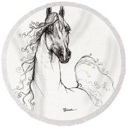 Arabian Horse Drawing 41 Round Beach Towel