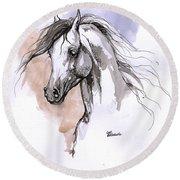 Arabian Horse Ink Drawing 1 Round Beach Towel