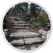 Arboretum Stairway Round Beach Towel by Tim Allen