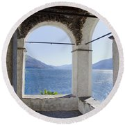Arch And Lake Round Beach Towel