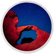 Arch In Red And Blue Round Beach Towel