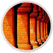 Archaic Columns Round Beach Towel by Karen Wiles