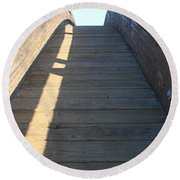 Arched Pedestrian Bridge At Martinez Regional Shoreline Park In Martinez California . 7d10525 Round Beach Towel