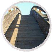 Arched Pedestrian Bridge At Martinez Regional Shoreline Park In Martinez California . 7d10526 Round Beach Towel