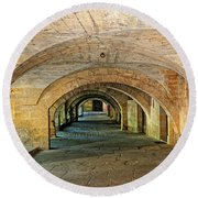 Arched Walkway In Provence Round Beach Towel