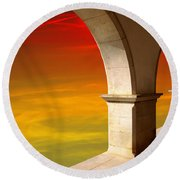 Arches At Sunset Round Beach Towel by Carlos Caetano