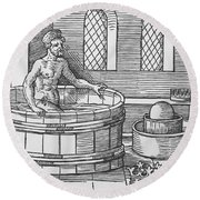 Archimedes And Hydrostatics Round Beach Towel