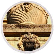 Architectural Detail . Large Urn With Lion Gargoyle  . Hearst Gym . Uc Berkeley . 7d10191 Round Beach Towel