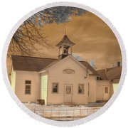 Arcola Illinois School Round Beach Towel by Jane Linders